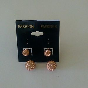 Gold sparkle double sided earrings